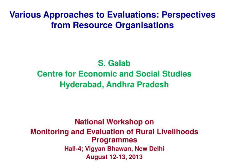 various approaches to evaluations perspectives from resource organisations n.