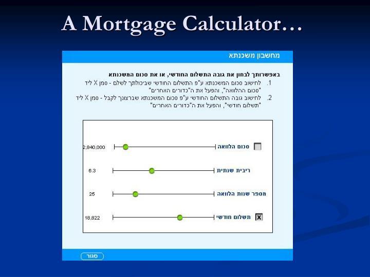 A Mortgage Calculator…