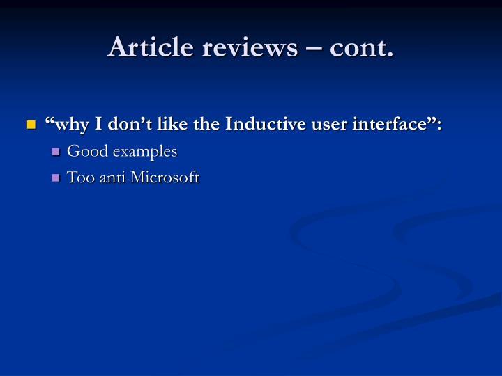 Article reviews – cont.