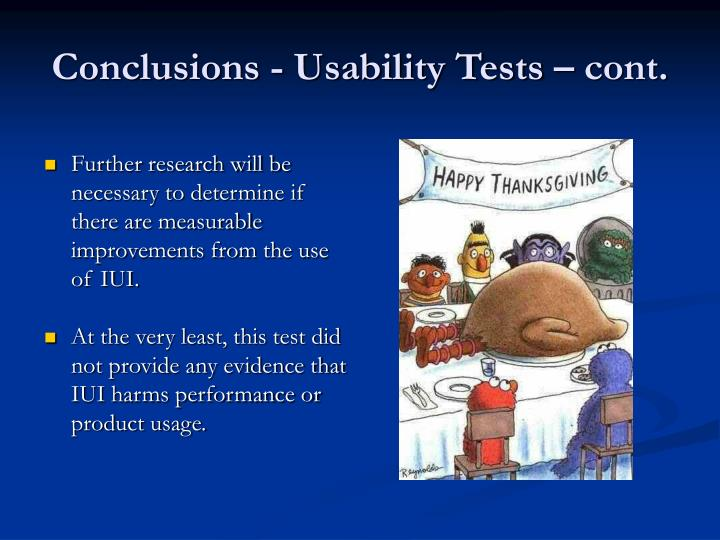 Conclusions - Usability Tests – cont.