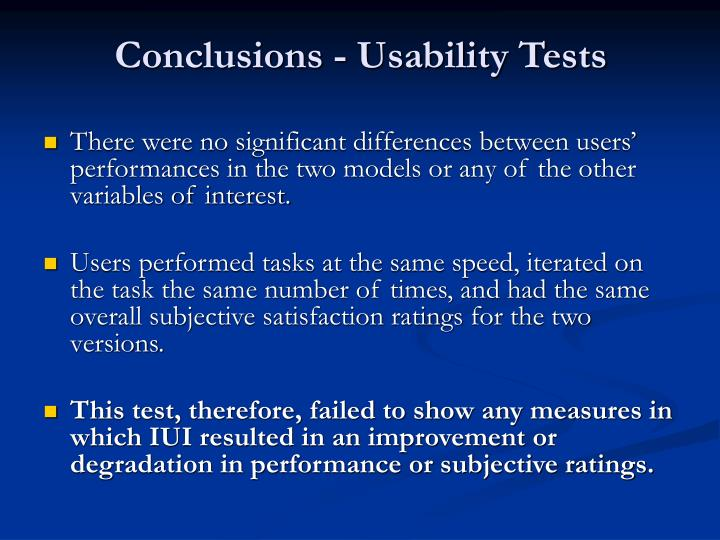 Conclusions - Usability Tests
