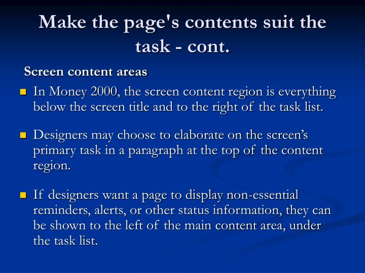 Make the page's contents suit the task - cont.