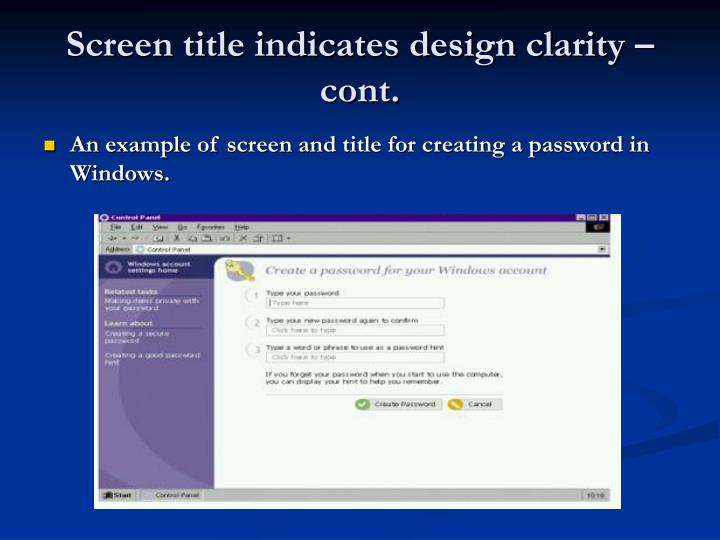 Screen title indicates design clarity – cont.