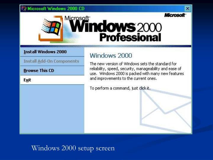 Windows 2000 setup screen