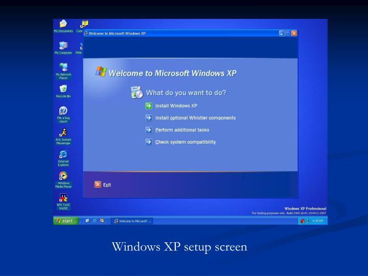 Windows XP setup screen