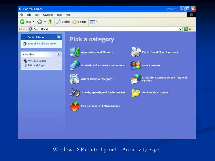 Windows XP control panel – An activity page