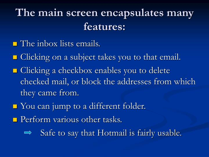The main screen encapsulates many features: