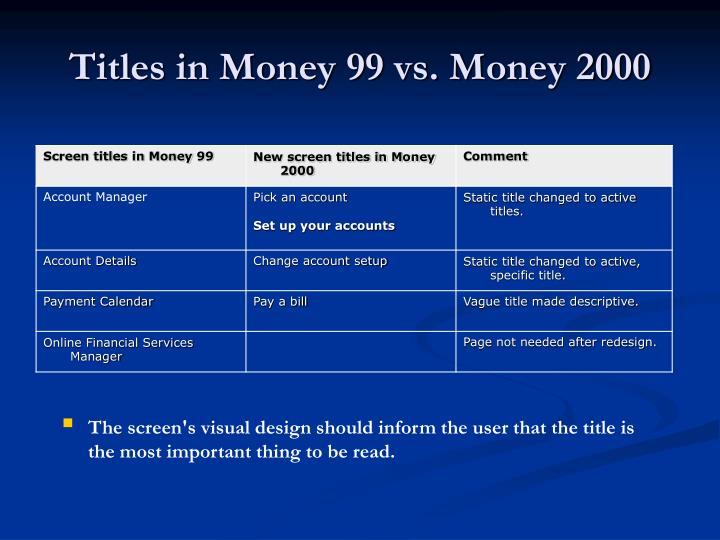 Titles in Money 99 vs. Money 2000