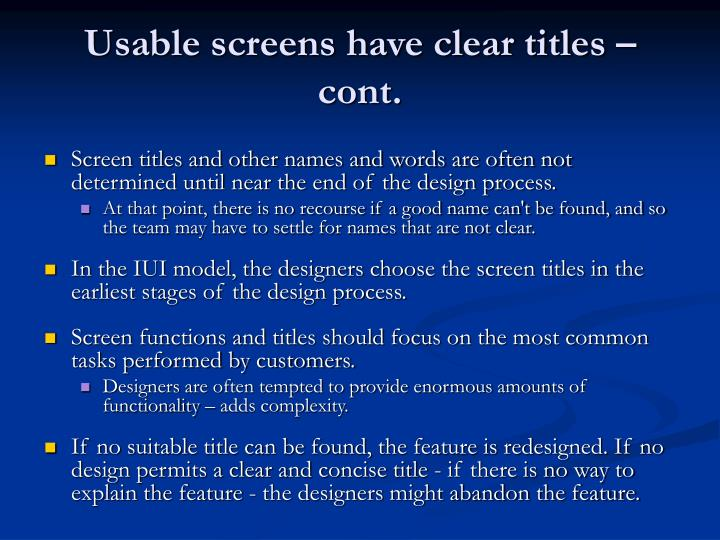 Usable screens have clear titles – cont.
