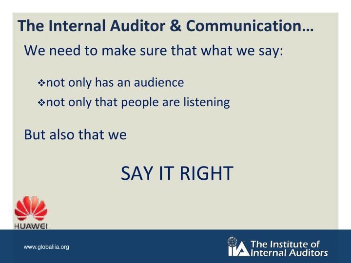 The Internal Auditor & Communication…