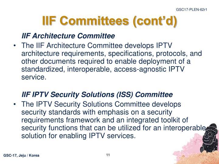 IIF Committees (cont'd)