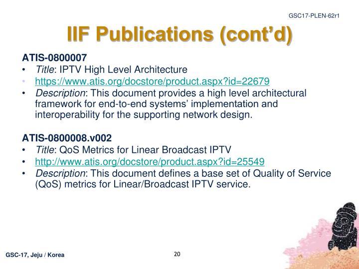 IIF Publications (cont'd)