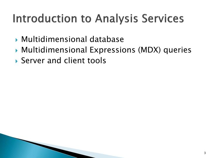 Introduction to analysis services