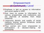 empowerment at community level