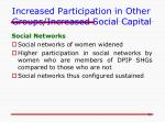 increased participation in other groups increased social capital