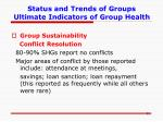 status and trends of groups ultimate indicators of group health3