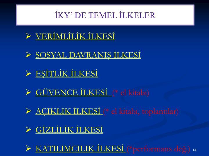 İKY' DE TEMEL İLKELER