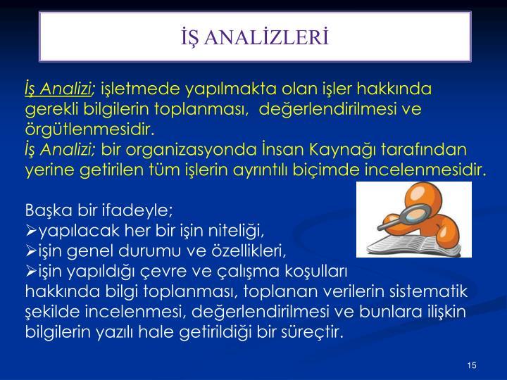 İŞ ANALİZLERİ