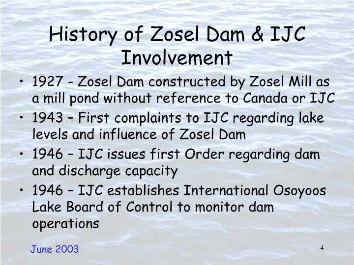 History of Zosel Dam & IJC Involvement