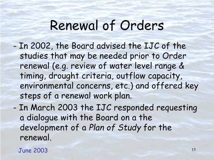 Renewal of Orders