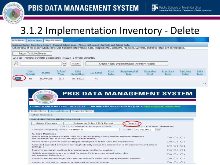 3.1.2 Implementation Inventory - Delete