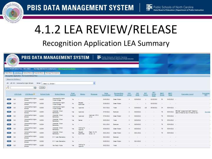 4.1.2 LEA REVIEW/RELEASE