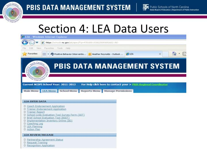 Section 4: LEA Data Users