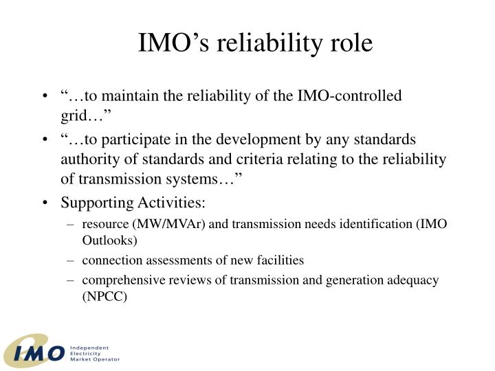 IMO's reliability role