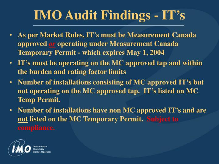 Imo audit findings it s1