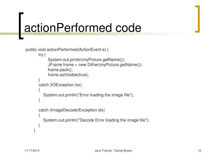 actionPerformed code