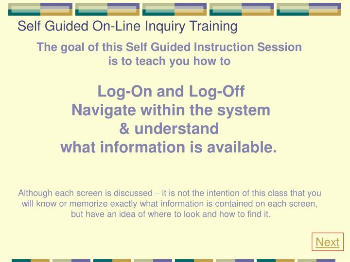 Self guided on line inquiry training