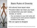 basic rules of diversity