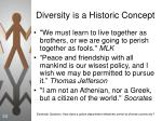 diversity is a historic concept
