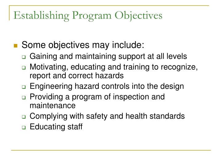 Establishing Program Objectives