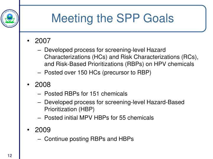 Meeting the SPP Goals