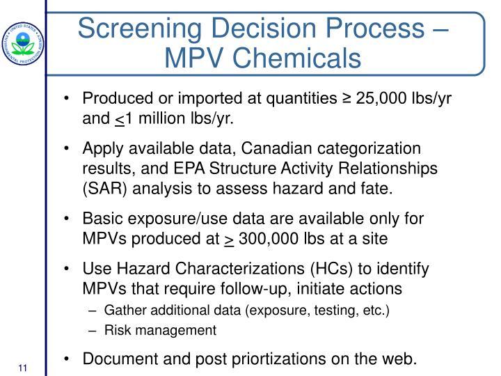 Screening Decision Process – MPV Chemicals