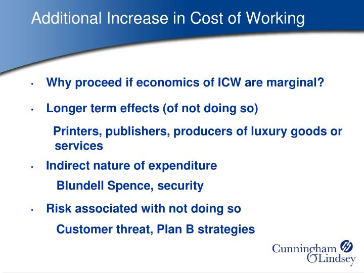 Additional Increase in Cost of Working
