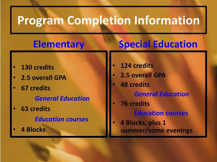 Program completion information