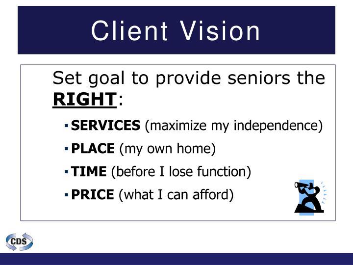 Set goal to provide seniors the