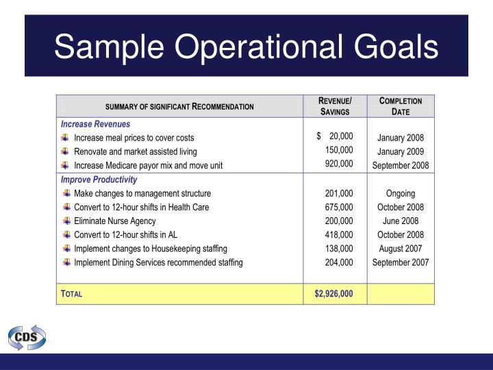 Sample Operational Goals