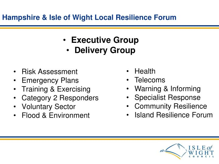 Hampshire & Isle of Wight Local Resilience