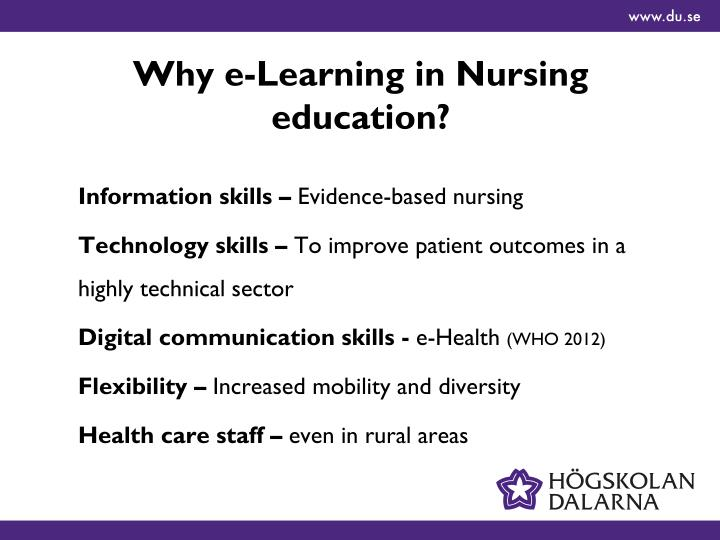 Why e learning in nursing education