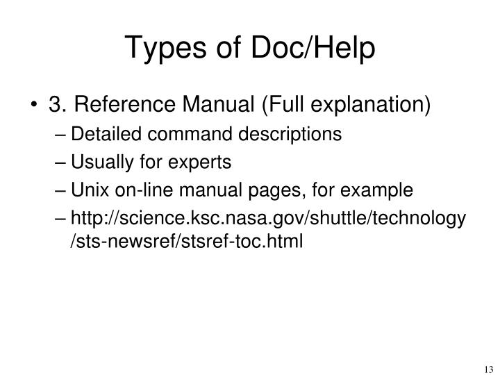 Types of Doc/Help