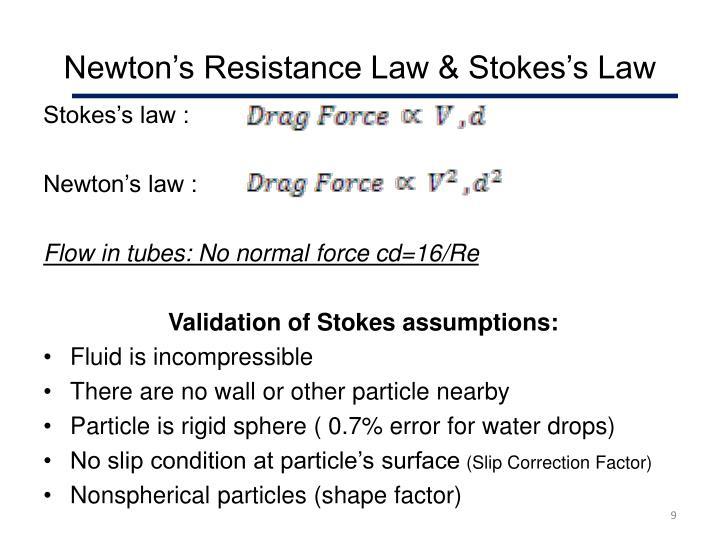 Newton's Resistance Law & Stokes's Law