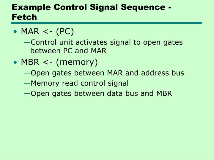 Example Control Signal Sequence - Fetch