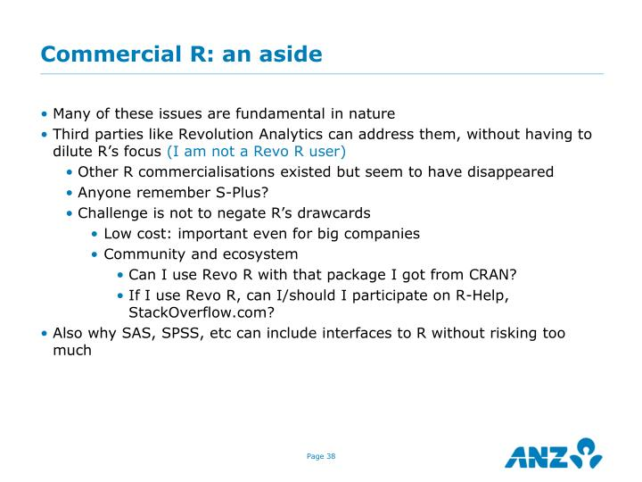 Commercial R: an aside