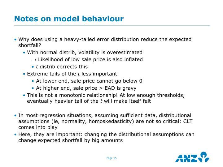Notes on model behaviour