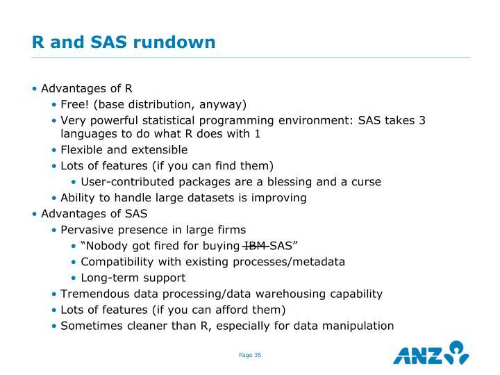 R and SAS rundown