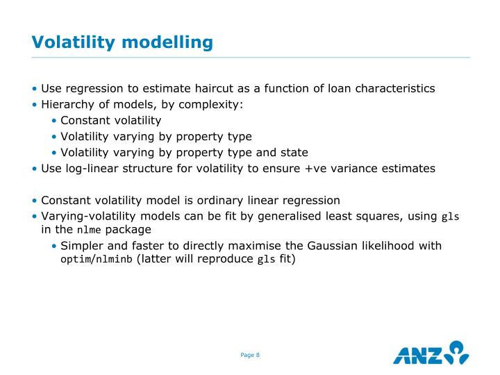 Volatility modelling