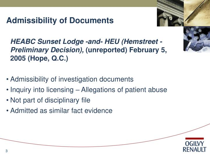Admissibility of documents